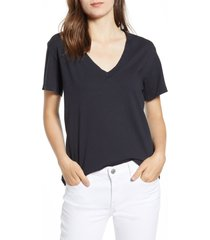 women's current/elliott the perfect v-neck tee, size 2 (fits like 6-8 us) - black