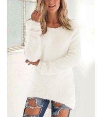 suéter redondo de punto de piel sintética cuello