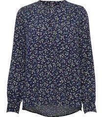 raya pop-over blouse ls blouse lange mouwen blauw tommy hilfiger