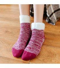 donna inverno caldo antiscivolo spesso confortevole soft velluto interno calze tubo centrale calze