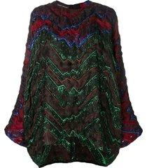 talbot runhof quilted metallic thread top - red