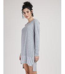 camisola feminina com recorte listrado manga longa cinza mescla