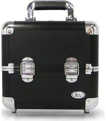 maleta de maquiagem alumínio pequena jacki design beauty preta - kanui