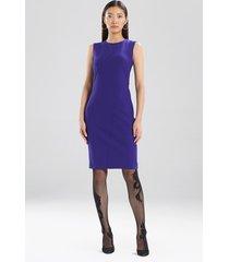 compact knit crepe seamed sheath dress, women's, purple, size 2, josie natori