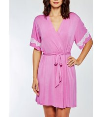icollection women's elegant cotton blend- ultra soft lace trimmed robe