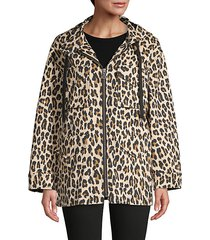 printed stretch-cotton hooded jacket