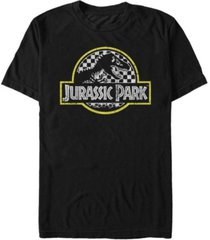 jurassic park men's distressed checkered logo short sleeve t-shirt