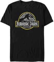 jurassic park men's distressed checkered logo short sleeve t-shirt
