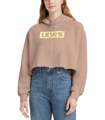 levi's cotton logo-graphic cropped hoodie