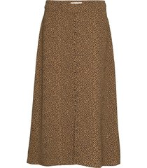 atlas print skirt knälång kjol brun modström