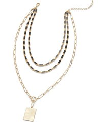 lane bryant women's hammered mixed-chain pendant necklace onesz gold tone