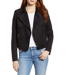women's kut from the kloth jacee draped moto jacket, size x-small - black