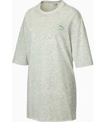 all-over printed oversized t-shirt voor dames, grijs/aop, maat xxl | puma