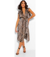 animal print ruffle sleeve midi dress, brown