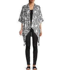 saks fifth avenue women's asymmetrical printed poncho - black white