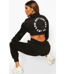 back print zip neck crop sweatshirt
