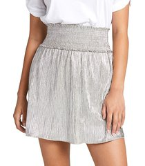 a.l.c. women's isla metallic smocked skirt - silver - size 2