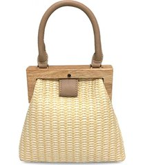 bolsa de mão mini tote artestore em tecido com detalhes em madeira marfim