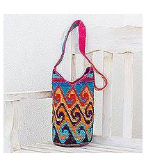 cotton bucket bag, 'multicolored waves' (guatemala)
