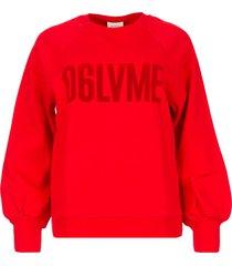 katoenen sweater met tekstopdruk love me  rood