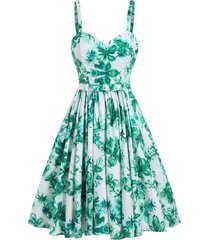 flower print bowknot backless pleated retro dress