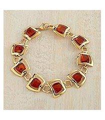 gold vermeil amber link bracelet, 'ancient stories' (poland)