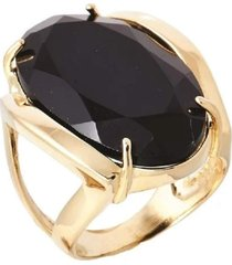 anel com pedra ágata negra banhado a ouro 18k