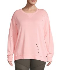 betsey johnson performance women's distressed pullover sweater - taffy - size 1x (14-16)