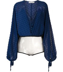 martha medeiros bruna textured bodysuit - blue