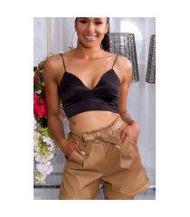 sexy hoge taille paperbag lederlook shorts bruin