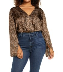 good american surplice satin bodysuit, size 8 in sepia layered leopard at nordstrom