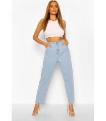 high waist frayed hem vintage wash mom jeans, light blue