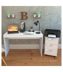 conjunto para escritório mesa e gaveteiro nova mobile 3 gavetas