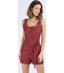 macaquinho de linho feminino estampado animal print onça com faixa para amarrar alça larga vermelho
