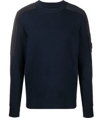c.p. company shoulder-patch crew neck sweater - blue