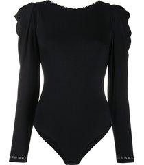 johanna ortiz rear tie fitted bodysuit - black