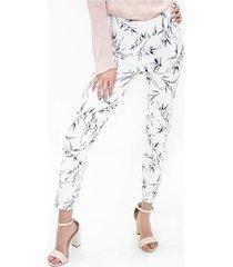 pantalon para mujer en bengalina multicolor color-blanco-talla-10