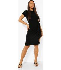 geribbelde gebreide midi jurk met ceintuur en korte mouwen, black