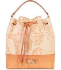 alviero martini 1a classe designer handbags, jour coated canvas & leather bucket bag