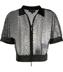 emporio armani sequin sheer cropped jacket - black