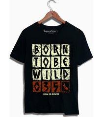 camiseta preta born to be wild mandrac - preto - masculino - algodã£o - dafiti