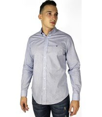 camisa azul manga larga para hombre - ccm030