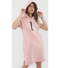 vestido calvin klein underwear curto logo rosa
