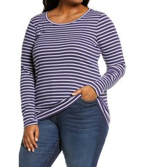 plus size women's caslon long sleeve scoop neck cotton tee, size 4x - blue