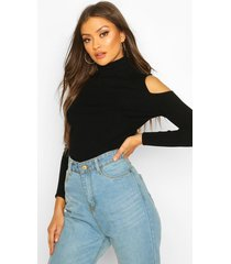cold shoulder turtle neck knitted top, black