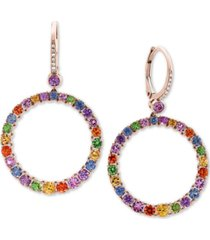 effy multi-sapphire (4-1/4 ct. t.w.) & diamond accent hoop earrings in 14k rose gold