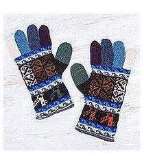 100% alpaca gloves, 'andean tradition in blue' (peru)