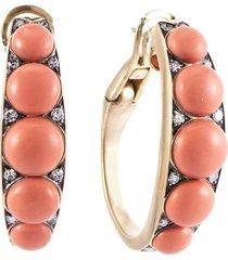 coral and diamond half hoop earrings
