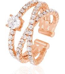 anello in metallo rosato e strass per donna