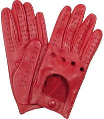 forzieri designer women's gloves, women's red perforated italian leather driving gloves